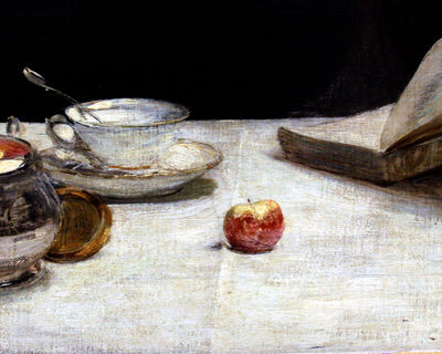 Apple-on-linen painting at the Musee d'orsay