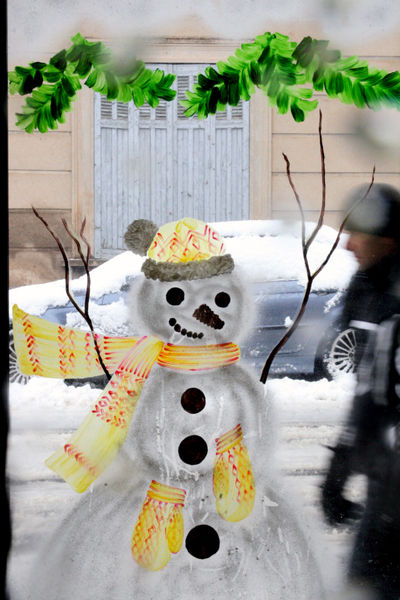 Snowman painted
