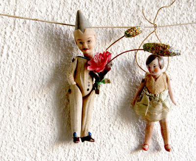 Dolls on a clothes line
