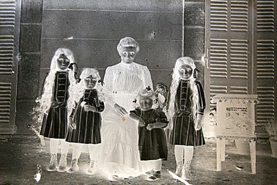 Antique glass photographs family and children