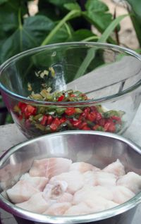 Paella with red peppers