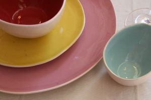 pastel pottery dishes