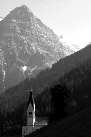 French alps Trafoi church steeple