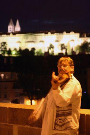 Prague violin player on bridge