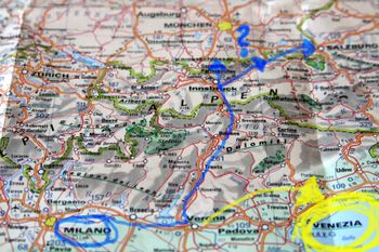 Map from Milano to Innsbruck