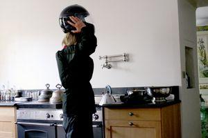 Motor cycle helmet hair