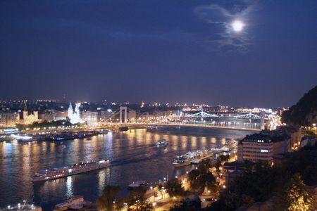 Budapest moonlight river