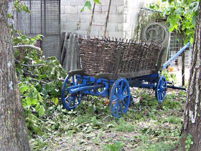 Old wagon with a basket