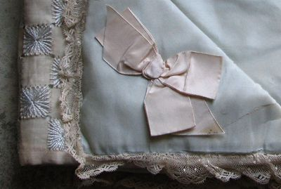 French Antique silk bag
