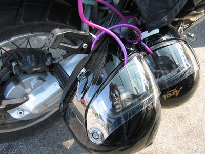 helmets attached to a motorcycle