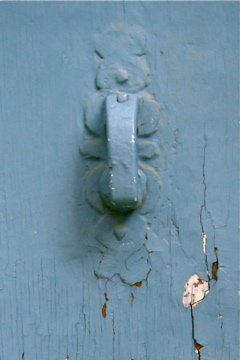 French blue grey door