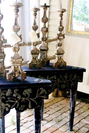 blue velvet side table