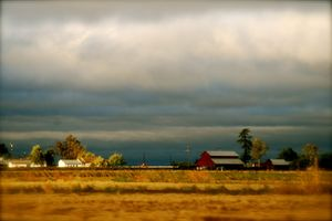 autumn storm over farm land