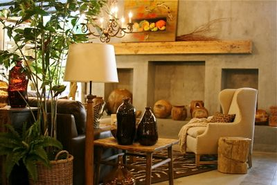 Cement wall and cutouts and firplace, Nantucket designs