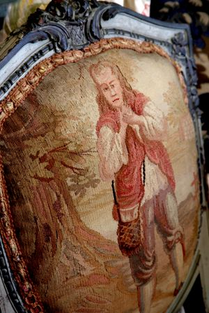 Antique tapestry upholstery