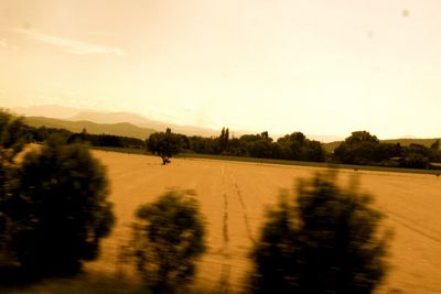 Sepia view French landscape