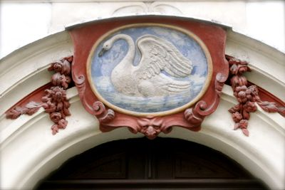 Prague swan doorway