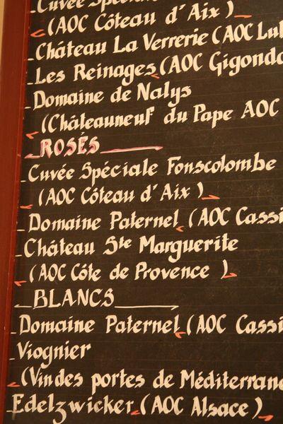list de vins