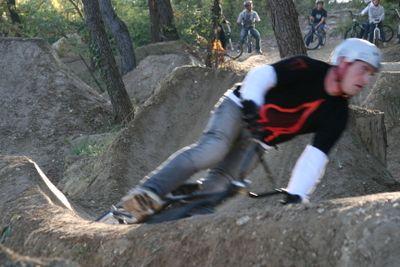 building up speed BMX dirt trail