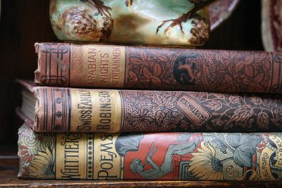 old books red leather bindings