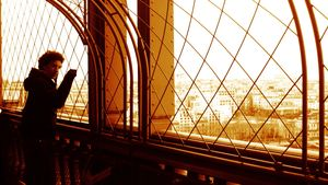 inside the Eiffel Tower.