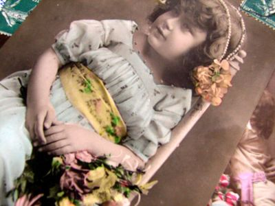 Vintage postcard child with flowers