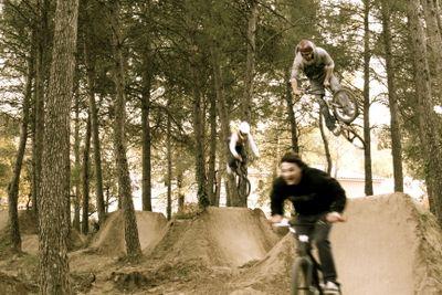 train trick on BMX dirt