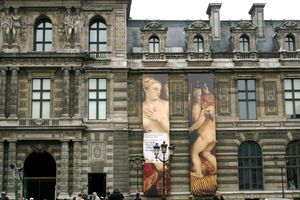 banners on the Louvre