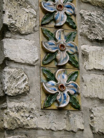 turn of the century French majolica tiles