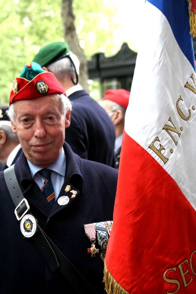 Veteran-with-flag veteran's day in paris