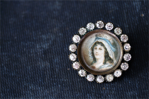 Nineteen century hand painted portrait-pin
