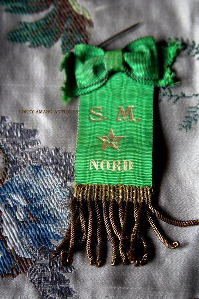 French la Vie Antiques by Corey Amaro : Green Ribbon Pin   SOLD
