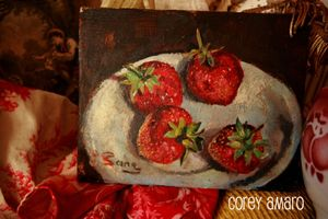 Fruit painting on board