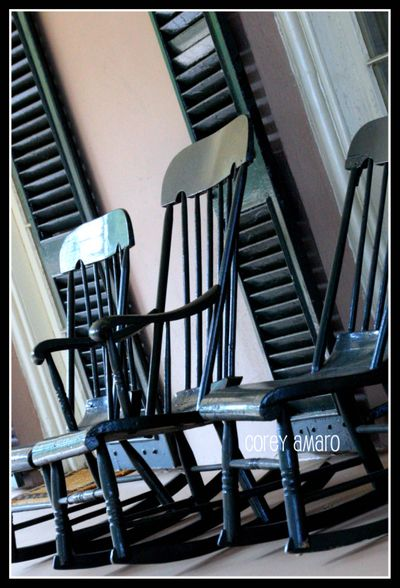Rocking chairs on the decl