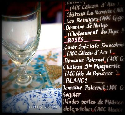 Wine and menu