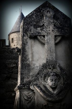 Tombstone with angel