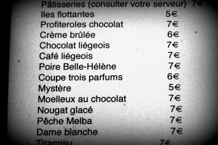 Tongue In Cheek - French Dessert Menu