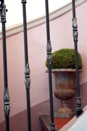 Urn on stairway