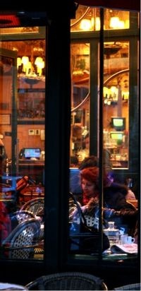 French cafe window