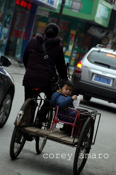 China child in cart