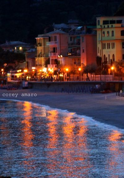 Italian riviera at night