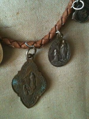 Old French Religious Medals on a Bracelet