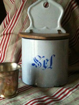 French Enamelware Salt Box
