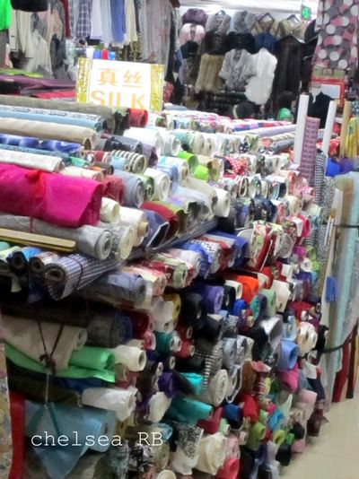Fabric market silk, cashmere, cotton
