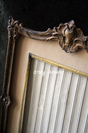 French Brocante frame with satin matting and golden trim