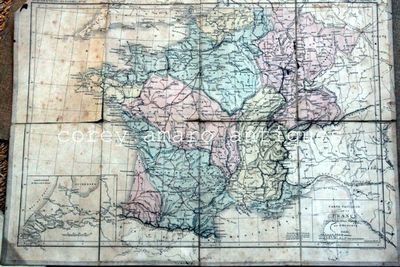 French map on canvas