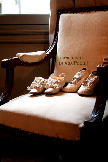 Chair with old wedding shoes