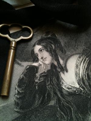 Portrait Black Ribbon with Key