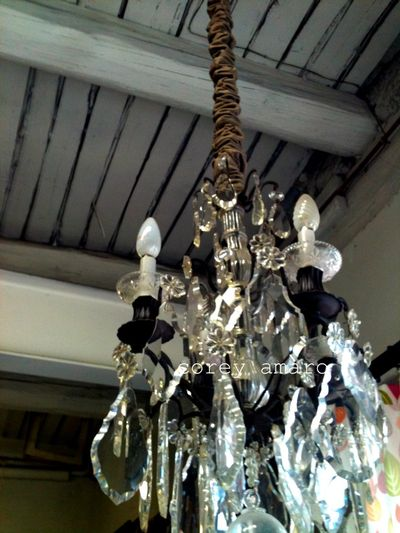 Chandelier Faded Charm at the French brocante
