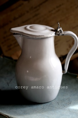 French brocante enamelware pot